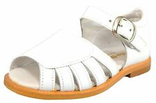 DE OSU S-7026 -SPAIN -Girls White Leather Dress Party Sandals -Euro 27 Size 10