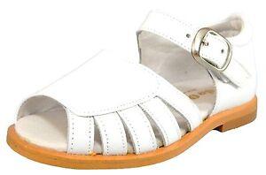 DE OSU -SPAIN - Girls White Leather Strappy Dress Sandals - European 27 Size 10