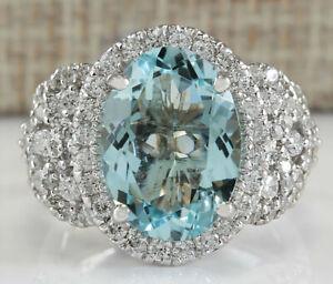 5.61 Carat Natural Aquamarine 14K Solid White Gold Diamond Ring