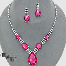 CLEARANCE TRENDY PINK & CLEAR CRYSTAL WEDDING FORMAL NECKLACE JEWELRY SET