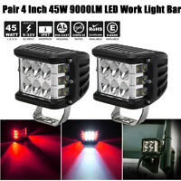 2X 4inch LED Work Driving Light Bar Flood Beam Driving Offroad Red Strobe Lamp