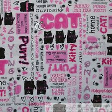 BonEful Fabric Cotton Quilt White Pink Kitty Cat Word B&W Heart Girl Dot L SCRAP