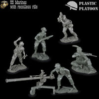 Plastic Platoon Toy Soldier US Marines With Recoilless Rifle 1/32 NEW 54 mm