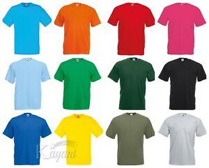 Men Fruit of the Loom 100% Cotton Plain T Shirt Short Sleeve Blank Original Tee