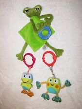 BRIGHT STARTS MUD PIE FROG BABY TOY SATIN SECURITY BLANKET TEETHER RING CLIP LOT