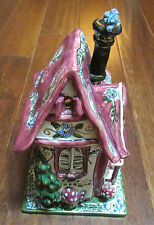Clayworks Blue Sky by Heather Goldminc Hand Painted Cozy Corner Ceramic House
