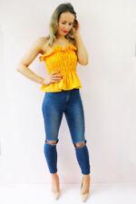 Maglie e camicie da donna gialli con girocollo taglia taglia unica