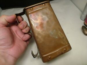 rare ANTIQUE  Hammered Copper  Victorian Ale Jug 19th C PITCHER   SQUARE