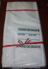 2 draps ancien coton 220 x 310 cm blanc marque déposé Florine