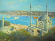 American Nino Pippa Orientalist Original Painting of Istanbul Dolmabache Mosque