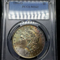 1884-O MS63 Morgan Silver Dollar $1, PCGS Graded, Crescent Toned!
