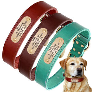 Soft Leather Personalized Dog Collar Pet Name Tags Engraved Free Small Large Dog