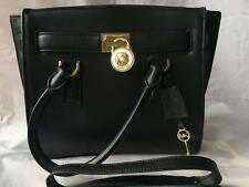 Michael Kors Hamilton Traveler Medium Black Satchel Hand Bag Handbag AUTHENTIC