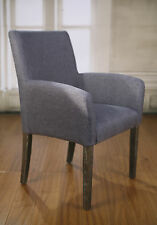 8 x Dining Chairs Grey Linen French Provincial Oak Bedroom Furniture Carver