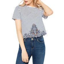 Miss Selfridge Embroidered Crotchet Stripe T-Shirt Size 10 rrp £18 LS079 AA 16