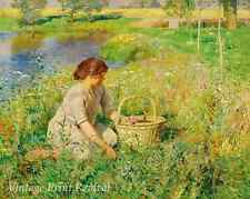 Down By the River by Emile Claus - Girl Sitting Fowers Basket  8x10 Print 1081