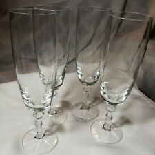 "Vintage Crystal Champagne Flutes 8"" Faceted Stems 4 Pc."