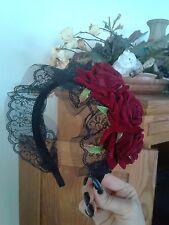 Lace Rose Black Red Headband Hair Flower Lolita Fairy Kawaii Cosplay Elegant