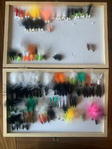 Around 250 Flies Various Types, Sizes.  Fly Fishing. Salmon. Sea Trout. And Box