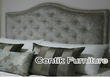 AUSTRALIAN MADE KING BUTTONED UPHOLSTERED BEDHEAD / HEADBOARD WITH CHROME STUDS