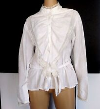 SKULLY Women's Sz M White Cotton Lace Frilly Embroided Shirt Pirate Cosplay