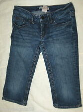 Jr Womens REFUGE CROPPED BLUE JEANS Knee Length HEGE LINES Low Rise SIZE 0