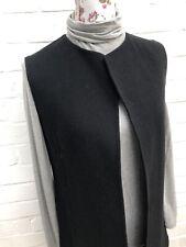 Hobbs Black Wool Sleeveless Coat Jacket Size 8 Long Blogger Formal