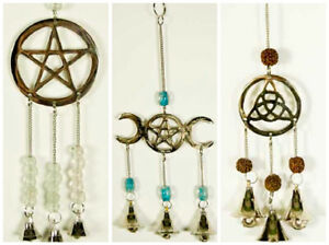 Hanging Garden Mobile Windchime Pentagram  Triquetra Sunshine Triple Moon