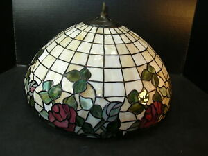 """Vintage 15""""   LEADED STAINED GLASS LAMP SHADE w/ ROSES FLORAL DESIGN"""