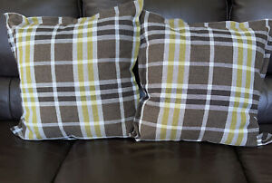 """Pier 1 Imports Pair Of Plaid Decorative Pillows Brown Beige Gold 22"""" x 22"""" NEW"""