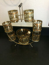 New listing Mid Century Modern Culver Valencia Six Glasses, Ice Bucket, Tongs, And Caddy Set