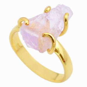 6.38cts Raw Natural Pink Kunzite Rough 925 Silver 14k Gold Ring Size 8 T48161