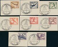 Stamp Germany Mi 609-16 1936 Reich Olympic Munich Soccer Gym Closing CTO