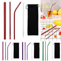 5pcs/set Reusable Stainless Steel Straw Metal Drinking Straight Bend Straws Kits