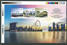 NEW ZEALAND 2015 IMPERF SINGAPORE EXHIBITION MINIATURE SHEET UNMOUNTED MINT