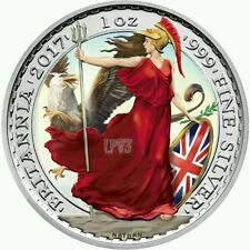 2017 2 P. BRITANNIA & GRIFFIN 1 Oz SILVER COLOR LIMITED MINTAGE 100 PCS BOX COA
