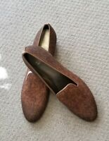 Stuart Weitzman Brown Wool Smoking Slipper MSRP $298 Loafers  11 SS (Narrow)
