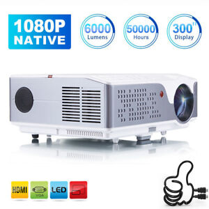 """6000 Lumen 1080P FULL HD Multimedia Projector 4K 300"""" Max Home Theater with HDMI"""