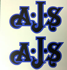 AJS London Stickers x2 A.J.S Decal Logo Tank Motorcycle Vintage Black & BLUE B
