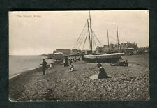Posted 1920 View of Fishing Boats, Bathing Huts & People, Hove Beach