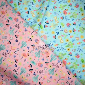 Summer Vibes 100% Cotton Fabric Kids Prints Children | Half Metre continuous