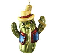 New Kurt Adler Noble Gems Glass Cactus Cowboy Christmas Ornament Lasso 4.75""