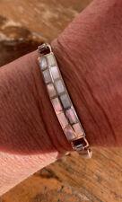 Vintage 1980s, Solid Sterling Silver & Mother Of Pearl Opening Bangle Bracelet.