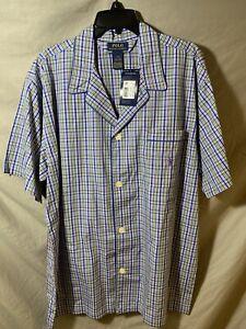 New Polo Ralph Lauren Men's Pajama Top Button Front Short-Sleeve Plaid L Purple