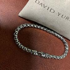 David Yurman  5mm Sterling Silver Box Chain7.5in Lobster Lock Bracelet