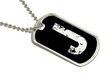 Letter J Initial - Military Dog Tag Keychain