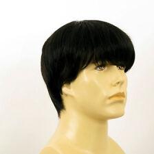 Perruque homme 100% cheveux naturel noir ref ALAN 1b