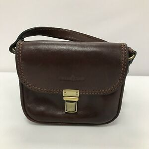 Gianni Conti Leather Small Crossbody Bag Dark Brown Flap Over Smart Lined 111088