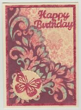 Blank Handmade Greeting Card ~ HAPPY BIRTHDAY with FLOURISH AND BUTTERFLY