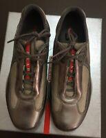 PRADA Americas Cup Sneakers Gray Leather Mesh Womens PR3163 size EU 38 US 7